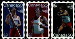 Canada, 1975, Olympic Summer Games Montreal, Running, High Jump, Marathon, Hurdles, MNH Set, Michel 597-599 - Non Classificati