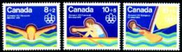 Canada, 1975, Olympic Summer Games Montreal, Swimming, Rowing, Sailing, MNH Set, Michel 582-584 - Kanada