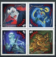 Canada, 1997, Horror, Vampire, Werewolf, Ghost, Goblin, MNH Block, Michel 1643-1646 - Non Classés