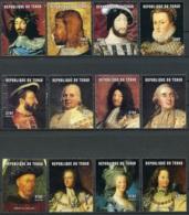 Chad, 2001, French Kings, Royal, MNH, Michel 2228-2239A - Chad (1960-...)