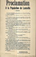 Proclamation à La Population De Lunéville - Luneville