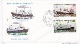 L4N197 SAINT-PIERRE ET MIQUELON 1976  Bateaux De PêcheFDC Croix De Lorraine 1,20 Goelette 1,40f Saint-Pierre 05 10 1976 - FDC