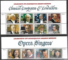 USA   1997   Sc#3157a  32c Opera Strip Of 4 & 3165a Composers Strip Of 8 With Headers  MNH - United States