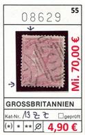Grossbritannien - Great Britain - Grand Bretagne - Michel 13 Zz -  Oo Oblit. Used Gebruikt - 1840-1901 (Victoria)