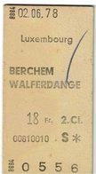 Luxembourg Berchem Walferdange - Titres De Transport