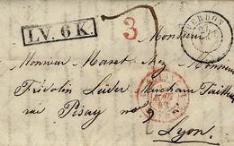1843 - Lettre D' Yverdon  Pour Lyon ( France ) Encadré Noir L V.6 K.  - Taxe 7 + 3 D - Schweiz
