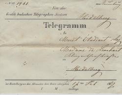 1864- Enveloppe TELEGRAMM   Complète Avec Le Télégramme - Suiza