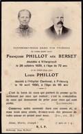 Faire-part De Décès - Mémento - Françoise Berset & Louis Phillot - Villargiroud & Fribourg (Suisse) - 1929 & 1930 - Todesanzeige