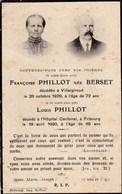 Faire-part De Décès - Mémento - Françoise Berset & Louis Phillot - Villargiroud & Fribourg (Suisse) - 1929 & 1930 - Décès