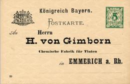 BAYERN  - 1895/96 , Postkarte Mit Werbung Für Tinte Nach Emmerich - Bayern