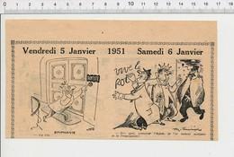 2 Scans Humour 1951 Epiphanie Feve Propagande Affiche Royalisme Ancien Livre Comptable Tailleur Pierre Brancardiers223XZ - Vieux Papiers
