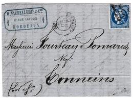 Lettre 1871 Cérès De Bordeaux 20c Bleu Non Dentellé Vachellerie & Cie Bordeaux Gironde Vin Blanc Wine - 1871-1875 Cérès