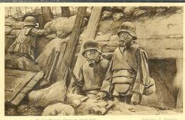 Cpa Les Masques à Gaz , Ww1 , Collection F.Flameng Août 1917 , Non Voyagée - Guerra 1914-18