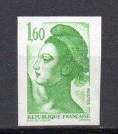 - FRANCE Variété N° 2218d ** - 1 F. 60 Vert Type Liberté 1982 - NON DENTELÉ DE GAP - Cote 50 EUR - - France
