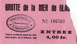2 Tickets Anciens  - Grotte De La Mer De Glace -  CHAMONIX - Tickets D'entrée
