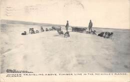 A-19-1463 : WINTER TRAVELING ABOVE TIMBER LINE IN THE MC KINLEY RANGE. ALASKA. ATTELAGE CHIENS. CHIEN DE TRAINEAU. - Etats-Unis