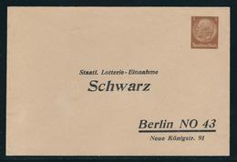 Ganzsachen-Privatumschlag Borek-Katalog Nr. 119 B 14) Schwarz Berlin, Wertstempel 3 Pf Braun Hindenburg, Ungebraucht, - Deutschland