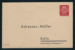 Ganzsachen-Privatumschlag Borek-Katalog Nr. 125 B 1) Adressen Müller Köln, Wertst. 12 Pf Karmin Hindenburg, Ungebraucht, - Ganzsachen