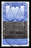 ATTI GIUDIZIARI - EMISSIONE 1991 - SENZA NUMERO DI SERIE - £. 9.800 - USATO - 6. 1946-.. Repubblica