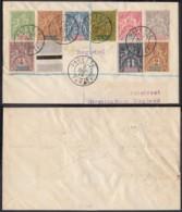 OCEANIE TETTRE AFFRANCHISSEMENT COMPOSE RECOMMANDE DE PAPEETE TAHITI 02/12/1913 (5G) DC-MV466 - Océanie (Établissement De L') (1892-1958)