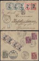 INDOCHINE EP 10C+AFFR COMPO EN  RECO DE CAMRANH ANNAM 14/03/1910 VERS ALLEMAGNE (5G) DC-MV483 - Lettres & Documents