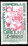 DIRITTI DI CANCELLERIA - EMISSIONE 1980 - £. 9.000 - USATO - 6. 1946-.. Repubblica