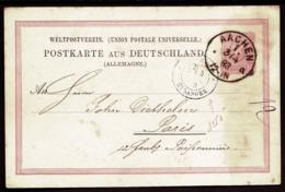 ENTIER POSTAL ALLEMAGNE- POSTKARTE EMPIRE- 10 Pf PETIT AIGLE- TAMPON BLEU ETRANGER- PARIS- 1883- CAD AACHEN - Deutschland