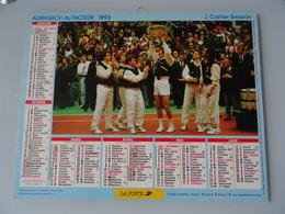 Almanach Du Facteur  1993   Recto   France  De   Tennis Coupe Devis De 1991 Verso  Guy  Forget Et Henri Leconte - Calendriers
