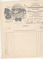 Belgique Facture Illustrée Neuve RUELLE &  LECOCQ Chocolat Confiserie BRUXELLES - érosion Côté  Droit - 1800 – 1899