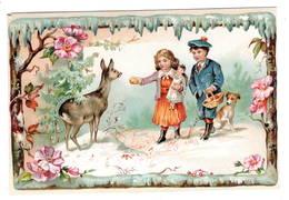 Biche  Enfants Poupée Chien , Superbe Chromo ( Carton )   10x14cm   Dos Neutre. - Chromos