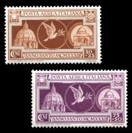 REGNO 1933 Anno Santo Posta Aerea Serie Compl. 2v. MNH ** Integra - 1900-44 Victor Emmanuel III.