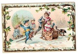 Enfants  Jouets  Cheval De Bois  Luge Traineau Neige Chien , Superbe Chromo ( Carton )   10x14cm   Dos Neutre. - Chromos