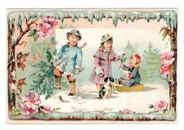 Enfants  Neige Luge  Chien Hache  , Superbe Chromo ( Carton )   10x14cm   Dos Neutre. - Chromos