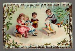 Enfants  Marionnettes  Noël   , Superbe Chromo  Gaufré   10x14cm   Dos Neutre. - Chromos