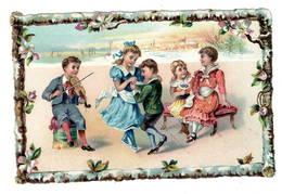 Enfants Danse Musique  Violon    , Superbe Chromo  Gaufré   10x14cm   Dos Neutre. - Non Classés