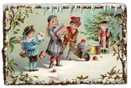 Enfants Brouette  Jouets  Poupée Pére Noël    , Superbe Chromo  Gaufré   10x14cm   Dos Neutre. - Chromos