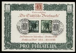 WW II KdF Karte Mit Sonderbriefmarken Sachsen Briefmarke: Gebraucht Mit Sachsen Dreier Sonderstempel Dresden 1938 - Deutschland