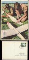 WW II HJ Postkarte , Farbig : Hitlerjungen Bauen Segelflugzeuge, Gebraucht Gornau 1943 , Sehr Selten Angeboten. - Deutschland