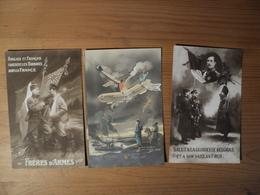 WW1. LOT DE 3 CPA PROPAGANDE SUR LES ALLIES SALUT A LA GLORIEUSE BELGIQUE ET A SON VAILLANT ROI / FRERES D ARMES. ANGLA - War 1914-18