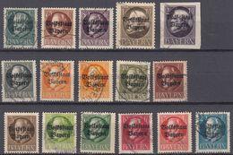 BAVIERA - BAYERN - 1919 - Lotto Composto Da 16 Valori Usati: Yvert 116/130(A) E 131(B). - Bavaria