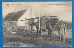 BELGIQUE - NIEUPORT-BAINS - NIEUWPOORT -  CABANE DE PECHEUR - DEPART POUR LA PECHE - CHEVAL ÉQUIPÉ - Nieuwpoort