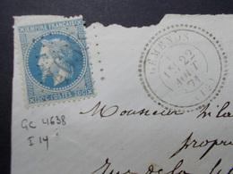 Marcophilie  Cachet Lettre Obliteration -  Timbre N°29 - Assez Rare GC 4638 GEMENON 1871 (2195) - Marcophilie (Lettres)