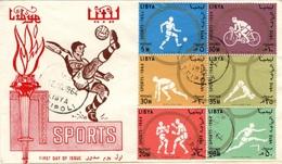 LIBYE LIBYA 246 à 251 FDC 1er Jour Sport Football Boxe Cyclisme Soccer Calcio Bike Boxing Hurdle Diving Run Dash - Libye