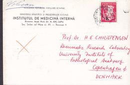 Romania INSTITUTUL DE MEDICINA INTERNA 1962 Card Karte Rheumatic Research Laboratory Denmark (2 Scans) - 1948-.... Républiques
