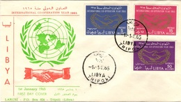LIBYE LIBYA 361 362 Poste Aérienne Air Mail 25 FDC 1er Jour International Co-operation Year 1965 Hand - Libye