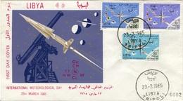 LIBYE LIBYA 264 à 266 FDC 1er Jour International  Meteorogical Day 23 Mars 1965 March 23rd Rocket Fusée Téléscope - Libye