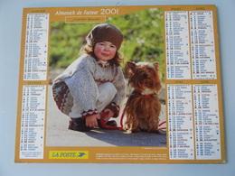 Almanach Du Facteur 2001 Recto Petite Fille Et Son Chien Verso  Garçon Et Son Panier - Calendriers