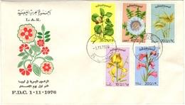 LIBYE LIBYA 597 à 601 FDC 1er Jour L.A.R. Libyan Arab Republic Flower Blume Fleur - Libye