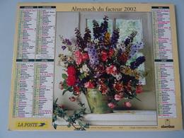 Almanach Du Facteur 2002 Recto Bouquet De Fleurs Verso  Coupe De Fruits - Calendriers