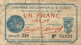 820-2019     REGION ECONOMIQUE D ALGER DU 22 JUIN 1921  1 FRANC - Chambre De Commerce